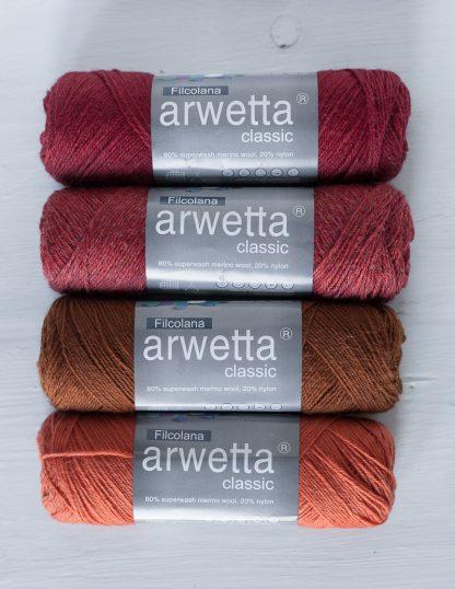 Filcolana - Arwetta - Deep Red, Chrysanthemum, Red Squirrel, Tangerine