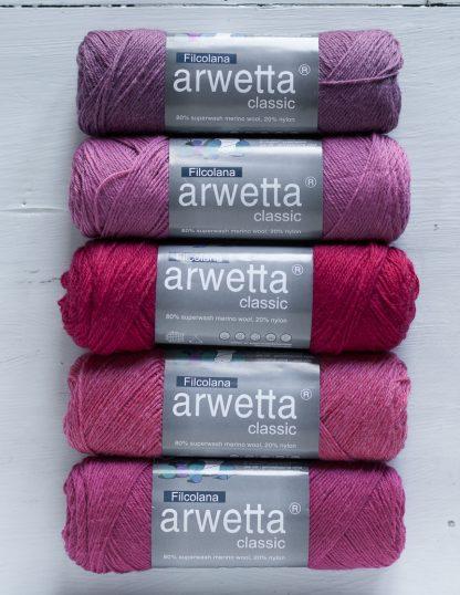 Filcolana - Arwetta - Red Clover - Desert Rose - Cerise - Strawberry Pink - Raspberry Pink