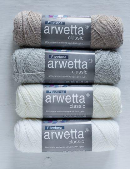 Filcolana - Arwetta - Sand - Very Light Grey -Natural White - Snow White