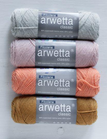 Filcolana - Arwetta - Very Light Grey - Light Blush - Coral - Mustard