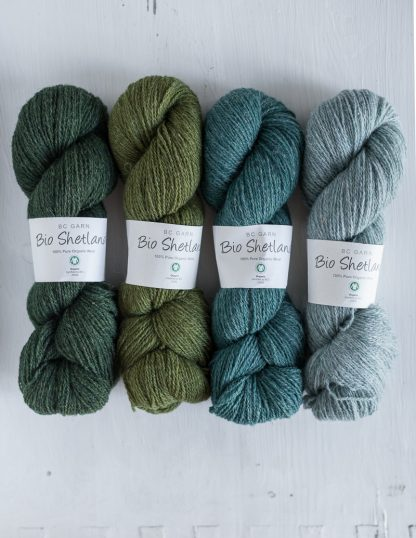 BC Garn - Bio Shetland - Dark Olive - Olive - Sweet Grass Green - Washed Jeans