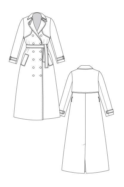 Isla trench coat -ompelukaava rakennekuva