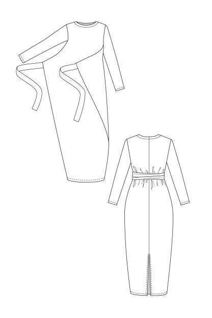 Kielo wrap dress & jumpsuit -ompelukaava mekon rakennekuva