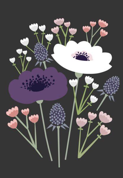 Lulu ja helina -postikortit - Kukkakimppu - harmaa