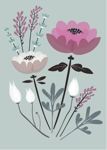 Lulu ja helina -postikortit - Kukkakimppu - minttu