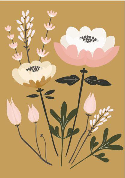 Lulu ja helina -postikortit - Kukkakimppu - okra