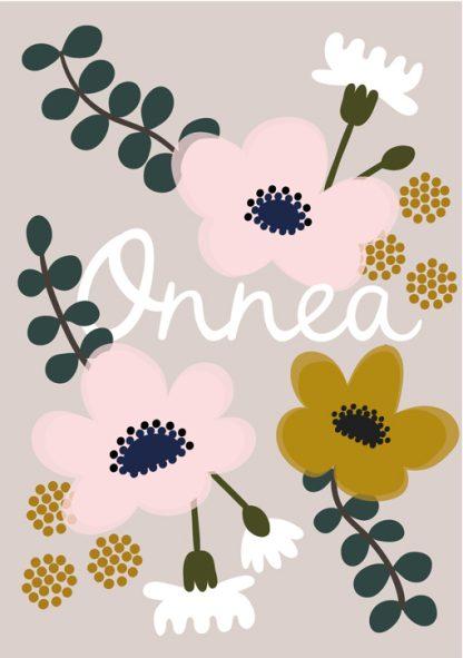 Lulu ja helina -postikortit - Onnea - kukka
