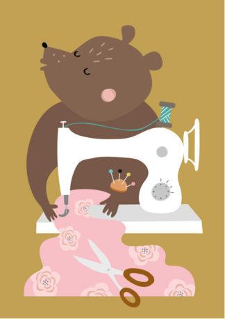 Lulu ja helina -postikortit - Nalle ja ompelukone