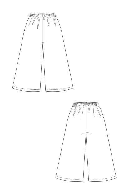 Ninni culottes -ompelukaava - Rakennekuva