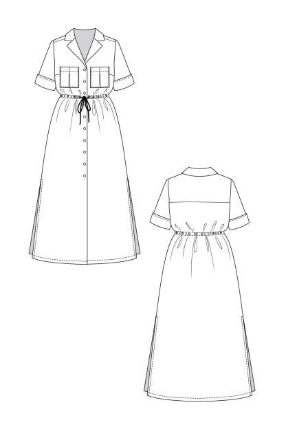 Reeta shirt dress -ompelukaava rakennekuva