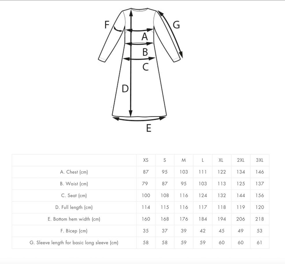 Multi-Sleeve Midi Dress -ompelukaava valmiin vaatteen mitat