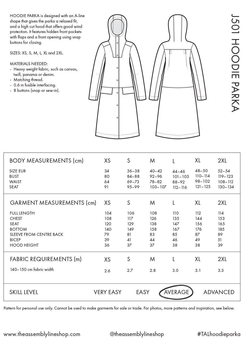 Hoodie Parka -ompelukaava mittataulukko