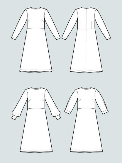 Multi-Sleeve Midi Dress -ompelukaava rakennekuva