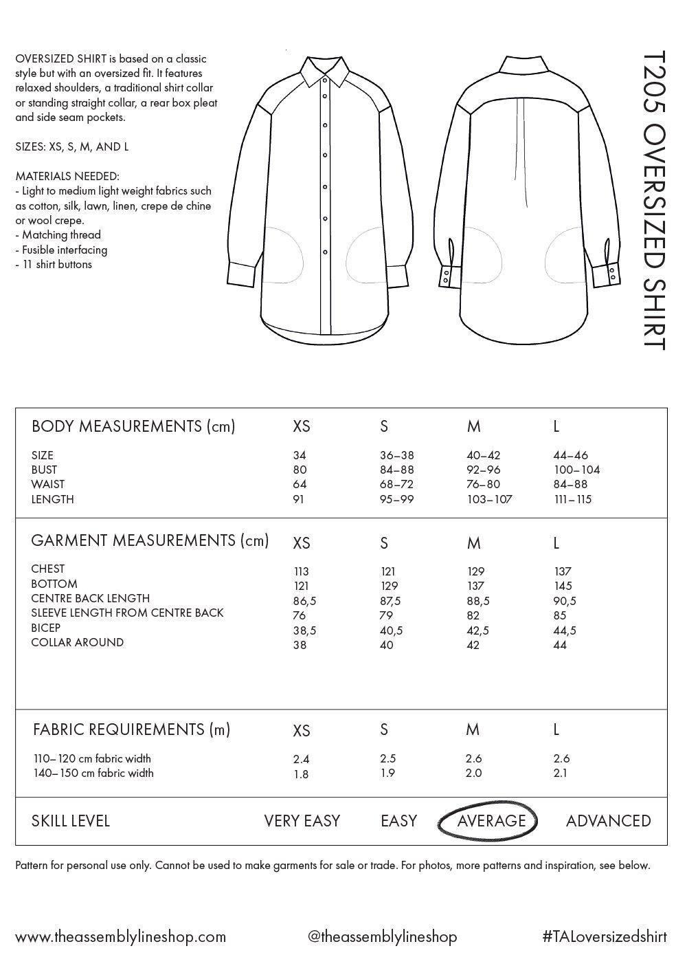 Oversized Shirt -ompelukaava mittataulukko