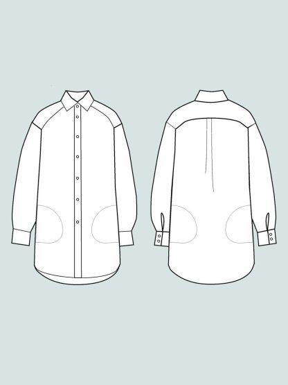 Oversized Shirt -ompelukaava rakennekuva