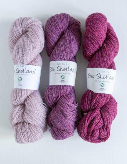 BC Garn - Bio Shetland Dusty Pink - Erica - Cardinal Red