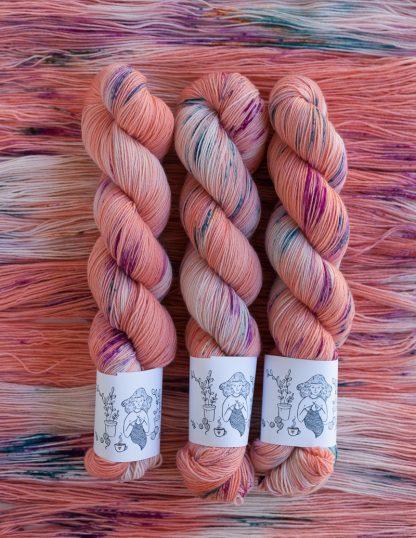 Pom Pom BFL Sock - Flamingo