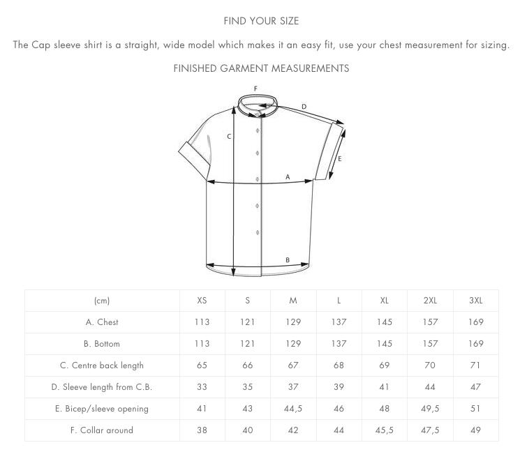 Cap Sleeve Shirt valmiin vaatteen mitat